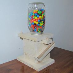 DIY Wood Mason Jar Candy Dispenser Kit Kids by CraftInnovation Mason Jar Candy, Mason Jar Diy, Summer Camp Crafts, Camping Crafts, Camping Tips, Candy Dispenser, Hard Candy, Jelly Beans, All You Need Is