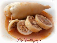 Calamares rellenos de gambas al ajillo, jamón ibérico, huevo y atún. ¡Riquísimos! ☆☆