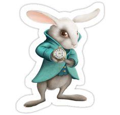 Conejo blanco elegancias indica el reloj – ilustración • Also buy this artwork on stickers, apparel, phone cases y more.