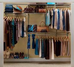 I need to do this in my husband's closet.  ClosetMaid ShelfTrack 5 ft. - 8 ft. Nickel Closet Organizer Kit