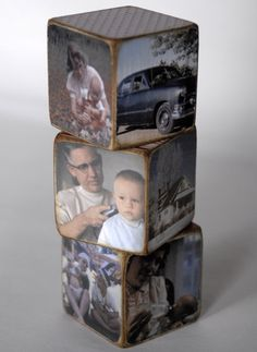 Super cute picture blocks, great way to decorate with pictures in an uncommon way :)