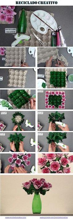 Infographic Cómo hacer un ramo de flores con hueveras de cartón