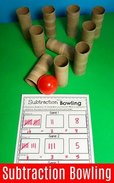 Fun Bowling Subtraction Game - Fun Math ideas for Kindergarten. # Do you need fun Subtraction Worksheets and hands-on Subtraction Centers? You are going to LOVE this awesome kindergarten math unit! Subtraction Kindergarten, Subtraction Activities, Kindergarten Math Activities, Fun Math Games, Homeschool Math, Teaching Math, Numeracy, Center Ideas For Kindergarten, Maths Games Ks1