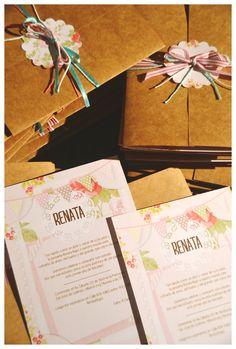 Sobres papel madera + invitaciones para primer año & Bautismo. Renata.