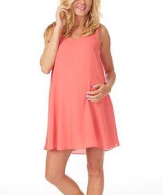 Look at this PinkBlush Coral Chiffon Maternity Shift Dress on #zulily today!