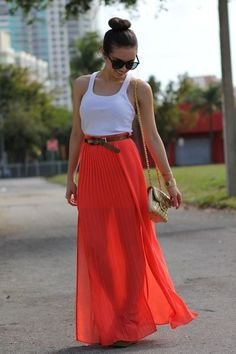 orange sheer maxi skirt- so pretty! Sheer Maxi Skirt, Pleated Skirt, Coral Skirt, Coral Maxi, Orange Skirt, Red Skirts, Maxi Skirts, Long Skirts, Stylish Clothes