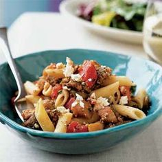 Penne with Sausage, Eggplant, and Feta  Planning for my summer eggplant harvest.