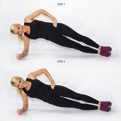 Side Plank Hip Dips-- I love this move! I feel it after the fifth dip every time.
