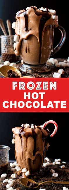 This easy Frozen Hot Chocolate recipe is rich and chocolaty, and uses just three ingredients! Inspired by Serendipity's frozen hot chocolate, this homemade no-churn ice cream is a perfect holiday dessert. #frozenhotchocolate #hotcocoa #hotchocolate #hotco