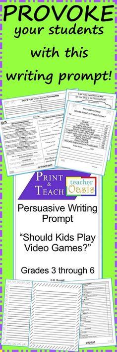 "Persuasive Writing Prompt ""Should Kids Play Video Games? 6th Grade Writing Prompts, Writing Traits, Writing Promps, School Fun, School Ideas, Persuasive Writing, Teaching Kindergarten, Writing Activities, Higher Education"