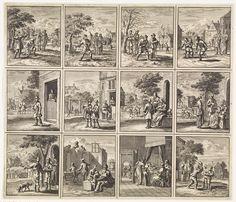 Jan Luyken | Twaalf afbeeldingen uit 'Des menschen begin, midden en einde', Jan Luyken, wed. Pieter Arentsz (II), Cornelis van der Sys, 1712 |