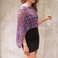 Hand crocheted Lace Poncho Grape Capelet Shrug by HEraMade on Etsy, $82.00
