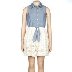 FULL TILT Chambray Crochet Girls Dress