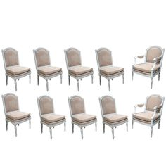 Refined Set 10 Louis XVI Painted Dining Chairs, French Late 18th C