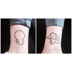 Cool origami elephant style tatoo