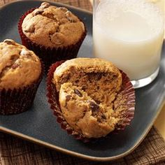 Banana Mocha-Chip Muffins Recipe -These moist muffins combine my two favorite things—chocolate and coffee. The banana is just an added flavor bonus. —Melissa Williams, Taylorville, Illinois