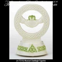 White Porcelain Irish Musical Claddagh Figurine with Celtic Knot Music Play When Irish Eyes are Smiling