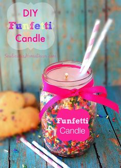 DIY Funfetti Candle. Make cute candles in mason jars using funfetti sprinkles to go with your funfetti cookies or cake. Perfect for birthday parties. sewlicioushomedecor.com