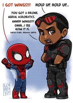 The falcon and Spider Man. We all know who Tony Stark's favorite is.