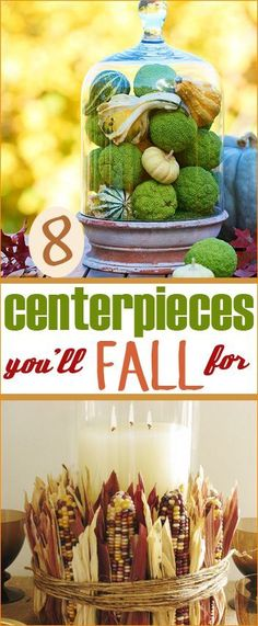 8 Fall Centerpieces.  Perfect centerpieces for your tables on Thanksgiving.