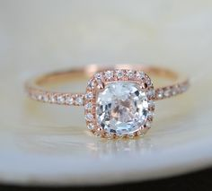 White sapphire engagement ring 14k rose gold diamond ring