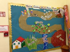 'We're Going on a Bear Hunt' Display use as storywalk Class Displays, School Displays, Classroom Displays, Literacy Display, Eyfs Activities, Nursery Activities, Activities For Kids, Nursery Display Boards, Reception Class
