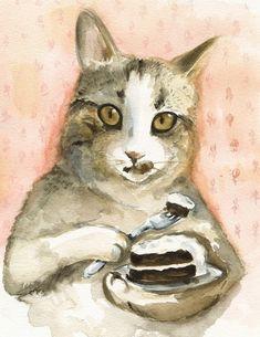 Quelques Desserts  chat aquarelle Art  Archiv... par amberalexander
