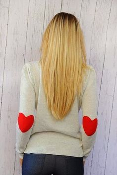 Heart Print Elbow Patch Sweater