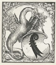 anoniem | Draak met het wapen van Basel, attributed to Monogrammist DS (graveur), 1500 - 1520 | Draak met een kop en poten van een kip, houdt het wapen van Basel vast. Rondom ornamentele omlijsting.