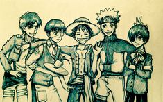 Naruto Shippuden Luffy One Piece Ciel Black Butler Eren Attack on Titan Kaneki Tokyo Ghoul Crossover Anime