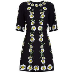 Dolce & Gabbana Daisy Print Dress (23.725.535 IDR) ❤ liked on Polyvore featuring dresses, black dress, day to night dresses, fit & flare dress, chain print dress and woven dress