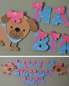 Puppy Dog Birthday Banner, Puppy Baby Shower - Party Decoration - CUSTOM Name/Age (20 letters)
