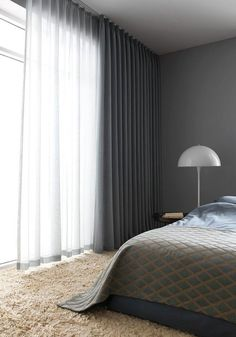 I love having the options of sheer curtains and solid curtains on same rod or sa. I love having the options of sheer curtains and solid curtains on same rod or same window up high! Home Curtains, Curtains Living, Window Curtains, Floor To Ceiling Curtains, Grey Curtains Bedroom, Office Curtains, Modern Curtains, Curtains With Sheers, Curtains And Blinds Together