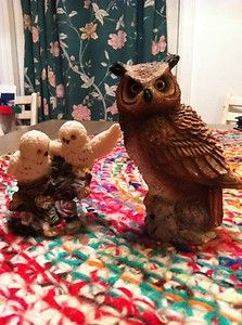 1984 STONE CRITTERS - OWLS - Great Horned Owl Figure - UNITED DESIGN Snowy Owls $5.00