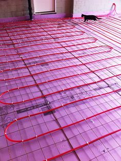 """Take Pride Construction and Design LLC had a computer print out of the runs necessary to heat the room. Rob Blair, our radiant floor consultant, had designed the runs for this area. The room is a Garage conversion to a """"Dwell-esqe"""" looking room. Hydronic Heating, Underfloor Heating, Radiant Heating System, Plumbing Problems, Radiant Floor, Pole Barn Homes, Heating Systems, Concrete Floors, Building A House"""