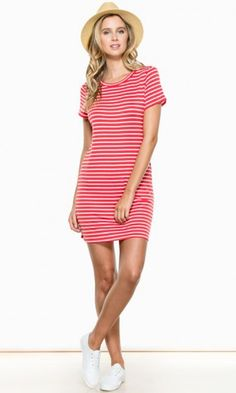 ZADIE T-SHIRT DRESS IN CORAL