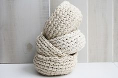Crocheted Fabric Bowl - Used to make these a long time ago. I think I might still have one of them.