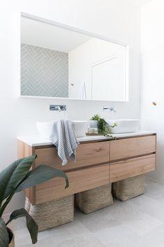 Investment bathroom showcasing Tasmanian Oak Staples Vanity – Carrningbah - Home Dekor Bad Inspiration, Bathroom Inspiration, Wood Bathroom, Small Bathroom, Bathroom Ideas, Serene Bathroom, Vanity Bathroom, White Bathroom, Modern Bathrooms