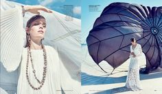 The March 2016 issue of Neiman Marcus' 'The Book', trumpets the arrivals of the spring collections with a selection of stories. One of the editorials featured is called, 'In the Air', and focuses on the most lightweight and dreamy dresses of the new season. Photographed by Williams & Hirakawa, model Alisa Ahmann hits the beach …