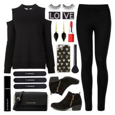 """black with a POP of red"" by lgb321 ❤ liked on Polyvore featuring Wolford, Michael Kors, MAKE UP FOR EVER, Bamboo, NARS Cosmetics, Givenchy, MAC Cosmetics, Casetify, Isabel Marant and Vera Wang"
