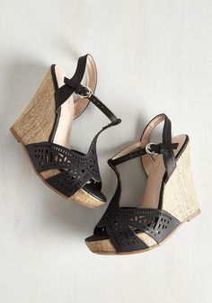 My Oh Miami Heel. When an invite for a luxe night out arises, you grab these black wedges and hit the scene with sass! #black #modcloth