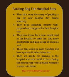 Hospital bags useful product that is available today for expecting parents is a pre packed hospital bag. These labour bags come well-equipped with all the essential items that a mother might need during her hospital stay. Labor Bag, Packing Hospital Bag, Maternity Sleepwear, Parents, Wellness, Bags, Dads, Handbags, Raising Kids