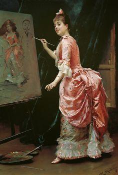 Raimundo de Madrazo y Garreta - Model Making Mischief [c.1885]  #19th #Classic #Painting #Raimundo de #Madrazo y #Garreta