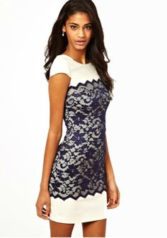 White Patchwork Lace Zipper Short Sleeve Dacron Dress