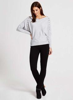 Silver Grey Stud Batwing Knit | Knitwear | MintVelvet
