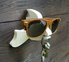 Plywood fish wall hanger for keys glasses and sunglasses by lxrns