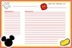 Free & Printable - Mickey recipe cards