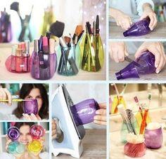 DIY Cosmetic Containers #makeup #organizer #storage #DIY - bellashoot.com