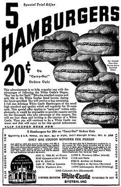 White Castle burgers for 20 cents! Vintage Menu, Vintage Labels, Vintage Recipes, Vintage Ads, Vintage Food, Funny Vintage, Vintage Stuff, Old Advertisements, Retro Advertising