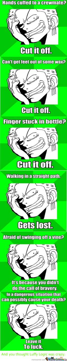 Zoro LOGIC ;) So you think Luffy logic is the only crazy one?